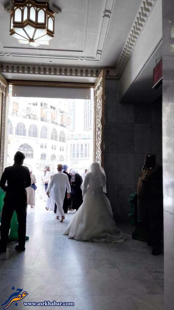 حضور در مسجد الحرام با لباس عروس! (عکس)