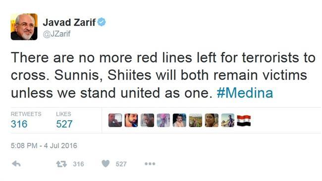 ظریف: تروریستها از همه خطوط قرمز عبور کردهاند