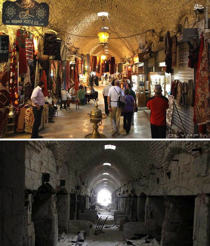 بازار حلب قبل و بعد از آمدن تروریستها (عکس)