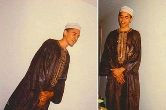 انتشار عکسی از اوباما با لباس اسلامی/ فاکس نیوز: اوباما یک مسلمان پنهان است! (+عکس)