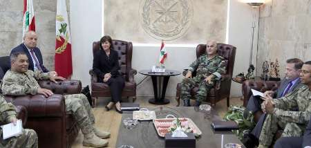 دیدار ژنرال ارشد آمریکائی با فرمانده ارتش لبنان