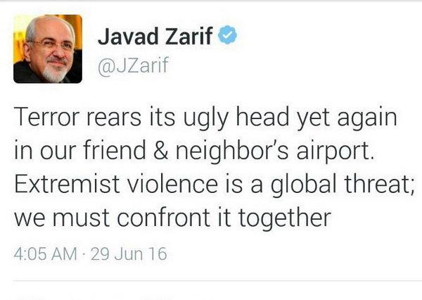 پیام ظریف درباره حملات فرودگاه استانبول