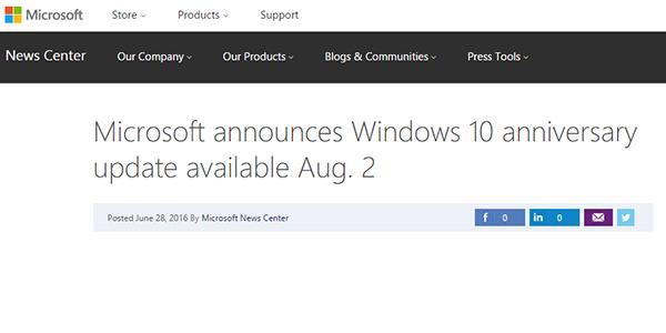 آپدیت سالگرد ویندوز 10 عرضه خواهد شد