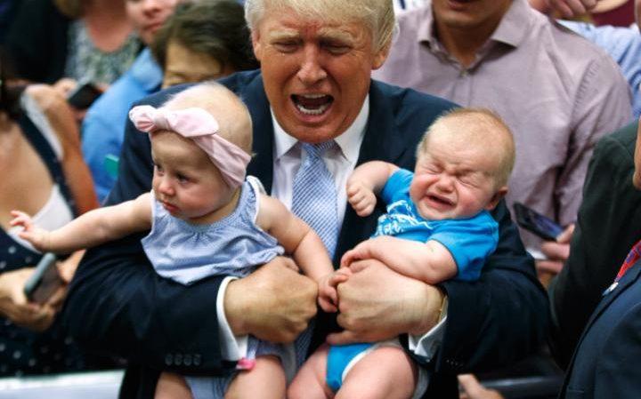 گریه بچه ها در آغوش ترامپ (+عکس)