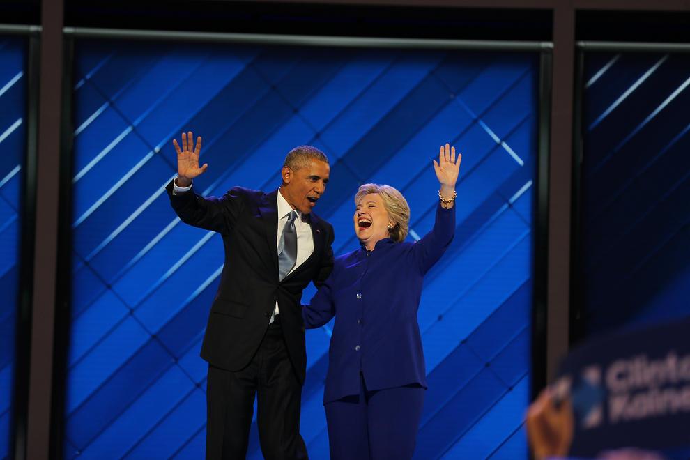 اوباما و هیلاری کلینتون در کنوانسیون دموکرات ها (عکس)