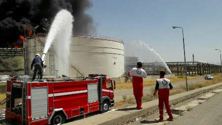 آتش سوزی در پتروشیمی کرمانشاه