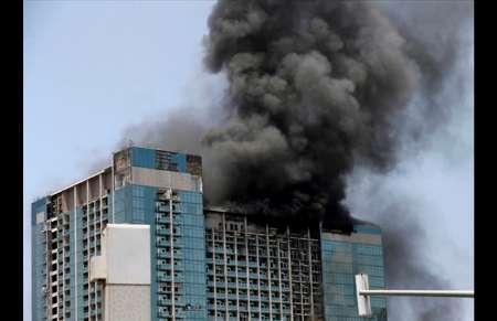 آتش سوزی در آسمان خراش ابوظبی