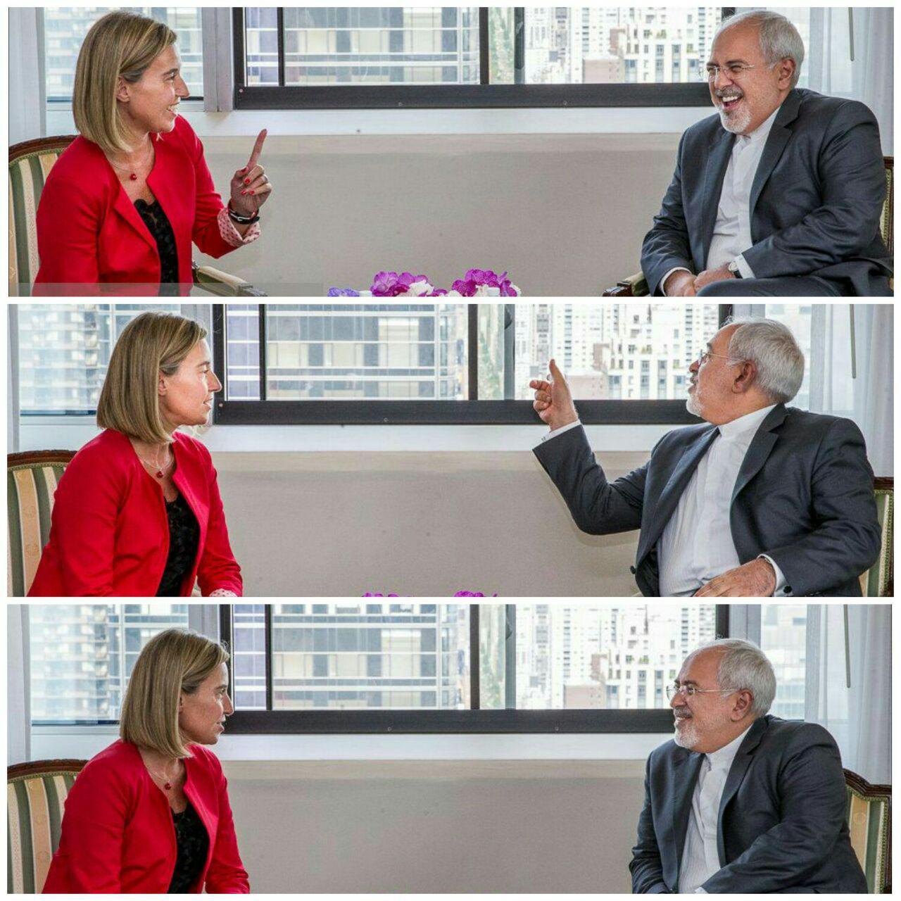 دیدار ظریف و فدریکا موگرینی در آمریکا (+عکس)
