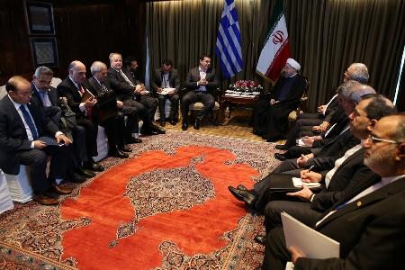 دیدار روحانی و نخست وزیر یونان (+عکس)