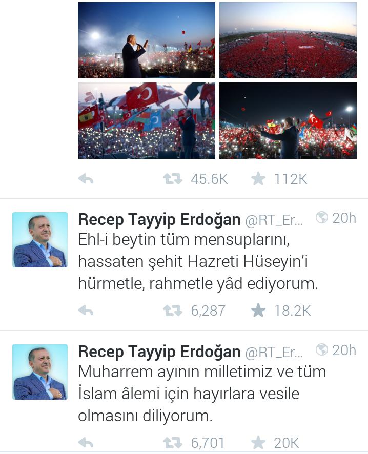 توئیت رجب طیب اردوغان به مناسبت روز عاشورا