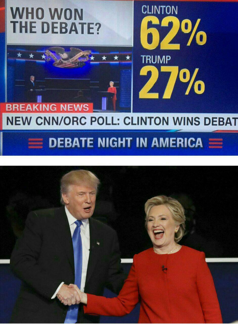 نظرسنجی سی ان ان: کلینتون در مناظره بر ترامپ پیروز شد