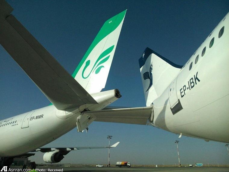 تصادف دو هواپیما در فرودگاه امام خمینی (+عکس)