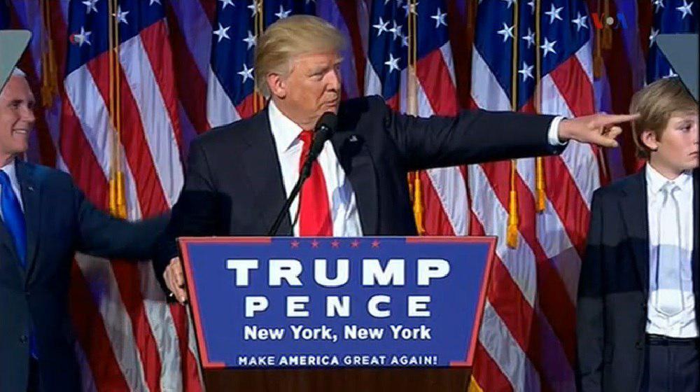 ترامپ رئیس جمهور آمریکا شد/ سخنرانی پیروزی ترامپ / تماس تلفنی هیلاری کلینتون با ترامپ و پذیرش شکست