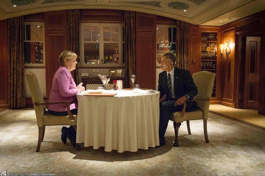 شام آخر اوباما و مرکل (+عکس)