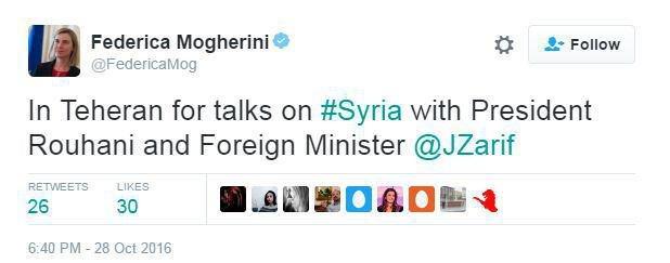 موگرینی: در ارتباط با موضوع سوریه به تهران آمدهام