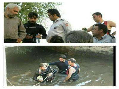 جستجوی غواصان برای کشف جسد یک زن در کانال آب در پاکدشت