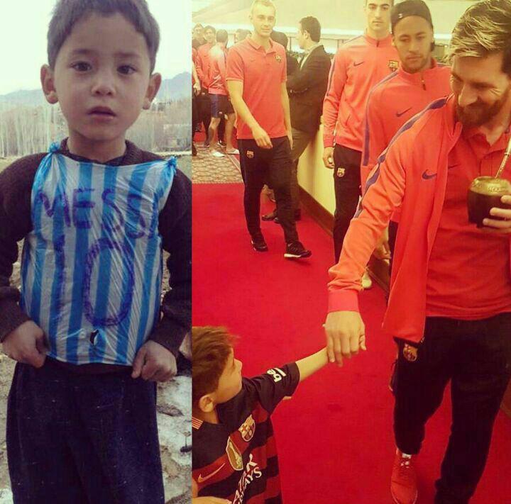 مسی با کودک افغان هوادارش دیدار کرد (+عکس)