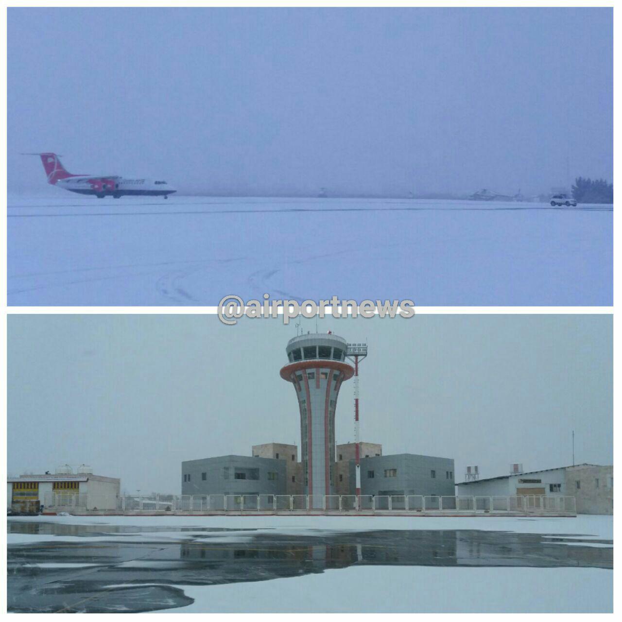برف در فرودگاه ارومیه (عکس)
