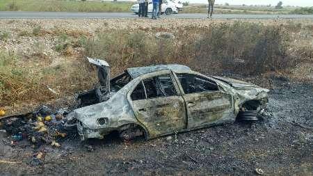 آتش گرفتن خودروی زائران کربلا در جاده شوش - اندیمشک