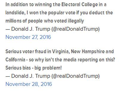 ترامپ : میلیون ها رای غیر قانونی به نفع کلینتون در انتخابات آمریکا به صندوق ها ریخته شد