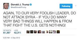 توییت های 3 سال پیش ترامپ در نفی حمله نظامی آمریکا به سوریه (+عکس)