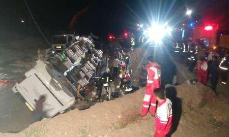 واژگونی اتوبوس در جاده سبزوار- شاهرود با 11 کشته