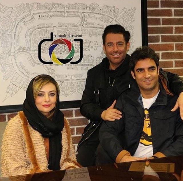 رضا گلزار در کنار یکتا ناصر و همسرش در یک مراسم (عکس)