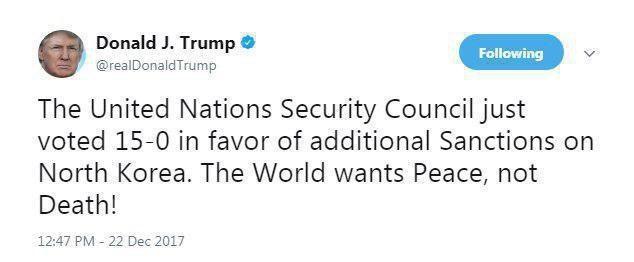 واکنش توئیتری ترامپ به تصویب تحریمهای جدید علیه کرهشمالی (عکس)