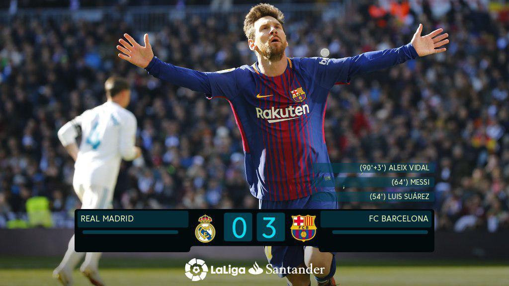 تحقیر رئال مادرید در ال کلاسیکو/ بارسا 14 امتیاز پیش افتاد