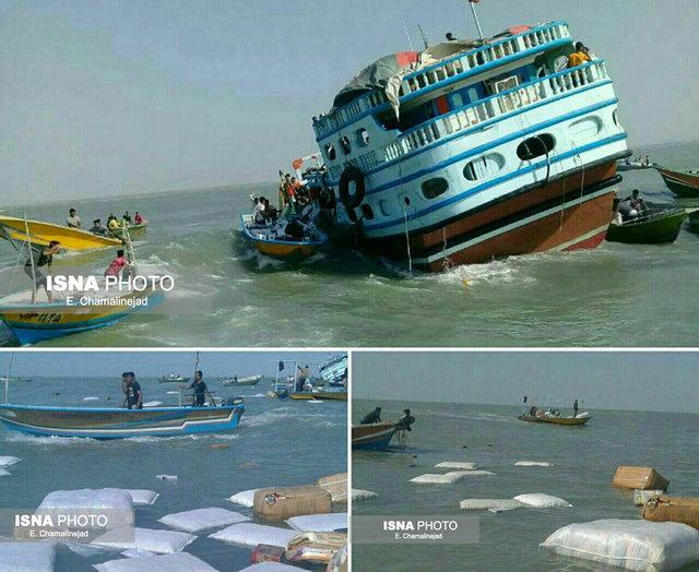 نجات لنج باری از غرق شدن در ساحل بخش بندزرک میناب (+عکس)