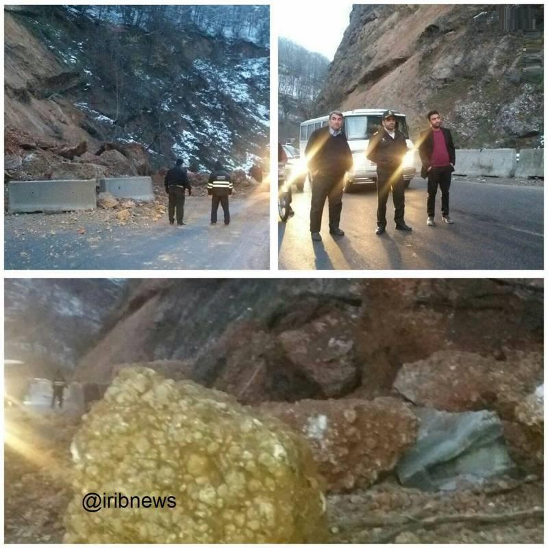 ریزش کوه در جاده هراز (عکس)