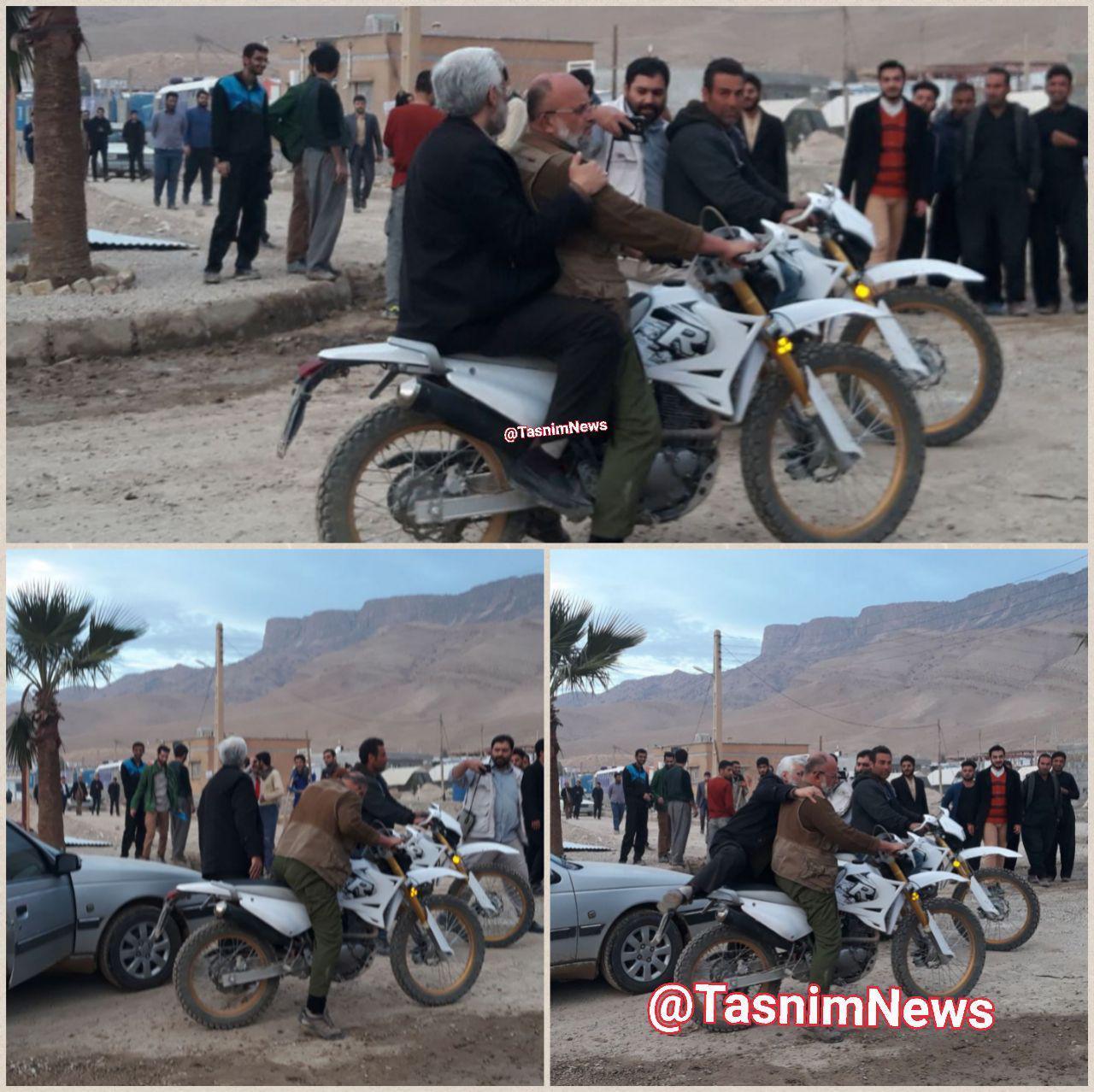 سعید جلیلی پشت موتور در مناطق زلزله زده کرمانشاه (عکس)