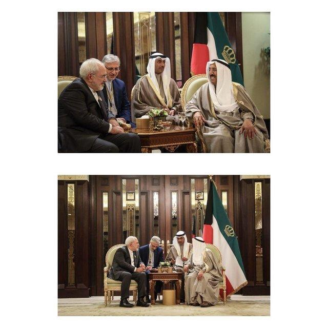 دیدار ظریف با امیر کویت (عکس)