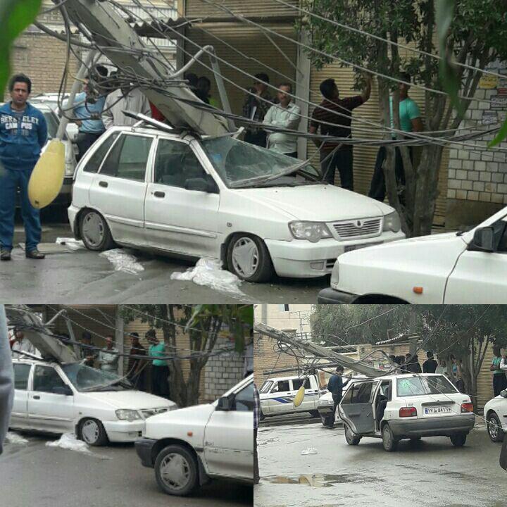 سقوط تیر برق بر روی خودرو در اهواز (عکس)