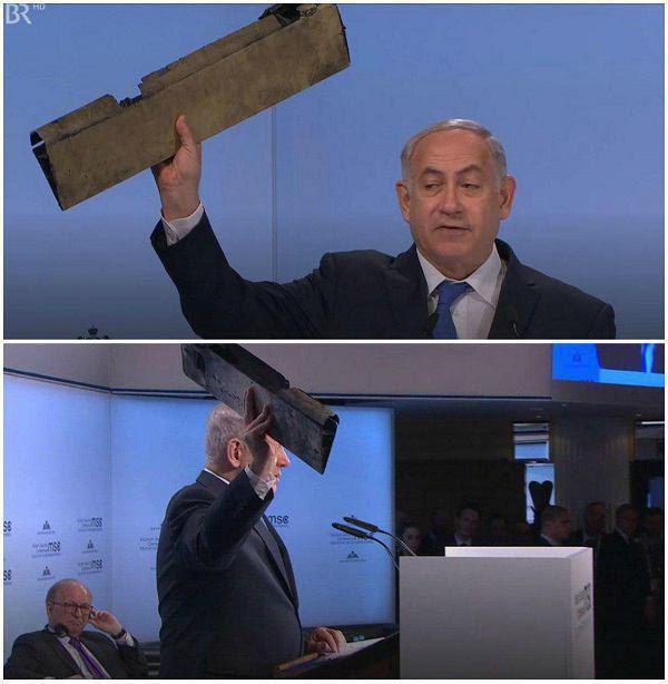 سخنرانی نتانیاهو علیه ایران با نمایش نقطه و قطعات پهپاد (+عکس)