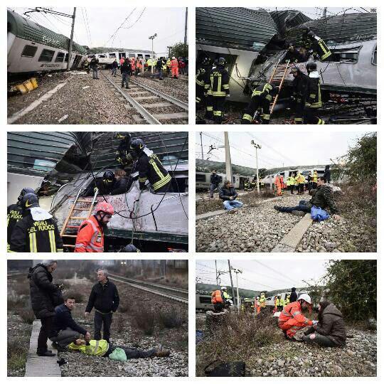 خروج قطار از ريل در ايتاليا با 2 کشته و بيش از 100 زخمي (عکس)