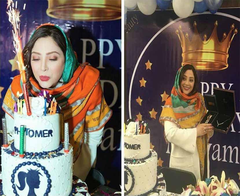 خانم بازیگر دیشب در جشن تولدش (عکس)