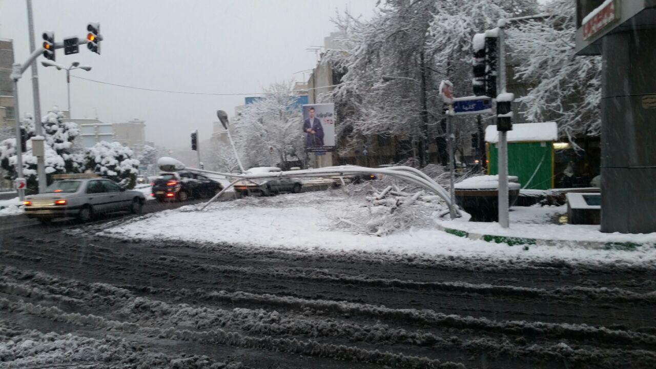 خم شدن تیرک چراغ برق بر اثر بارش شدید برف در تهران (عکس)