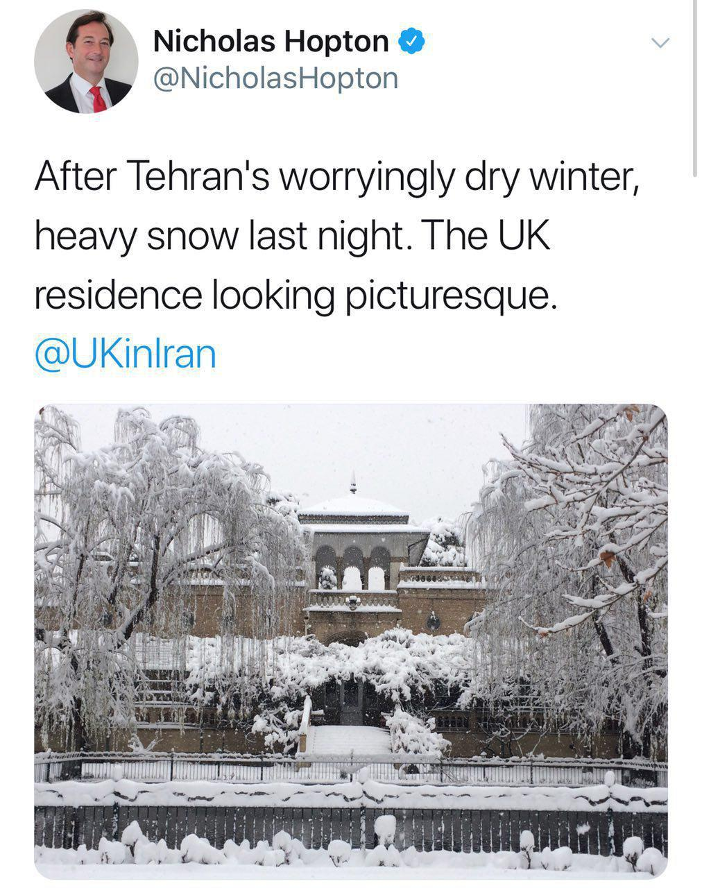 برف در سفارت انگلیس در تهران (عکس)