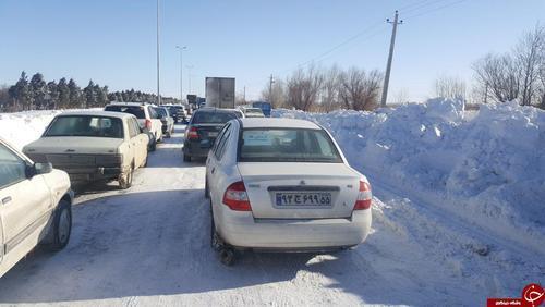 وضعیت خودروها در جاده تاکستان - قزوین (عکس)