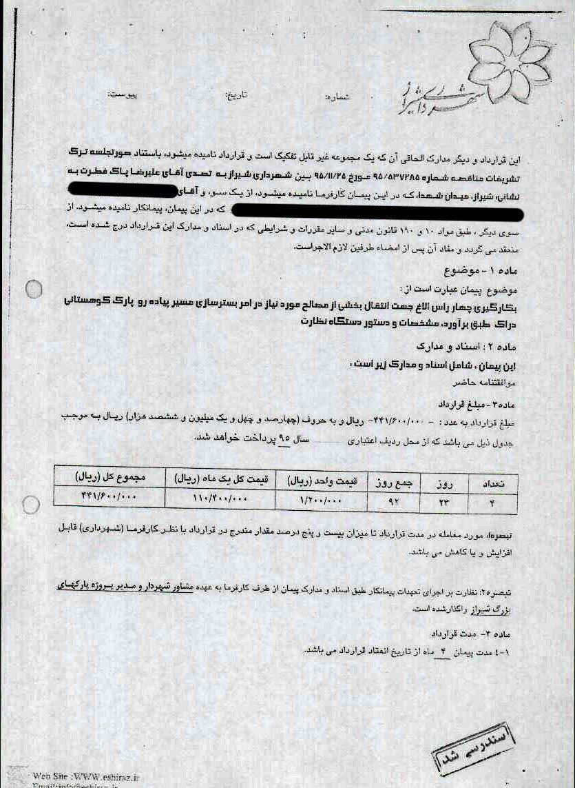قرارداد شهرداری شیراز : اجاره 4 راس الاغ برای سه ماه، 44 میلیون تومان