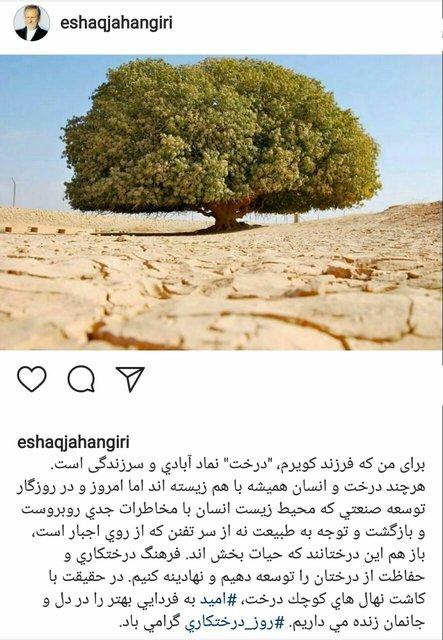 پست اینستاگرامی جهانگیری به مناسبت روز درختکاری (+ عکس)