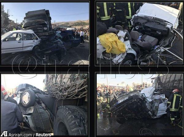 تصادف کامیون با ۱۲ خودرو در شیراز (+عکس)/ 2 کشته و 7 زخمی