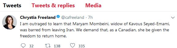 توییت وزیر خارجه کانادا درباره ممانعت از خروج همسر کاووس سید امامی از ایران (+عکس)