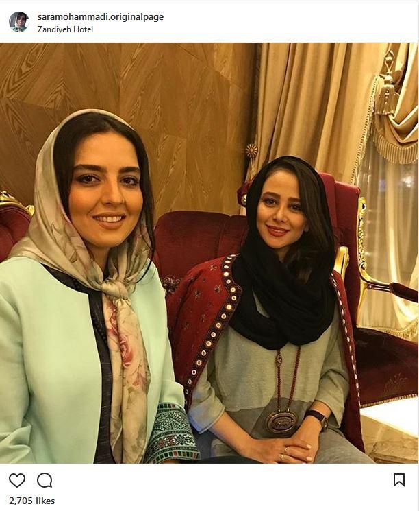 الناز حبیبی به همراه خواهر نرگس محمدی در یک هتل (عکس)