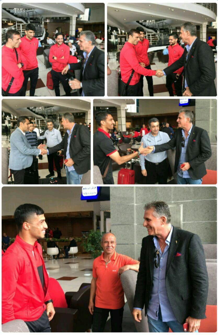 دیدار کی روش با بازیکنان پرسپولیس در فرودگاه امام خمینی پیش از سفر سرخپوشان به امارات