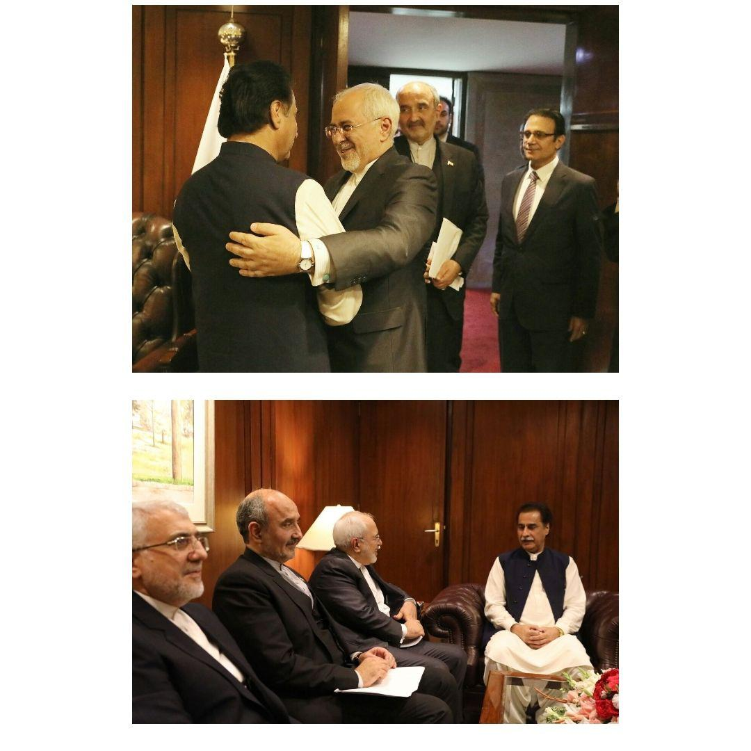 دیدار ظریف با رئیس مجلس ملی پاکستان (+عکس)
