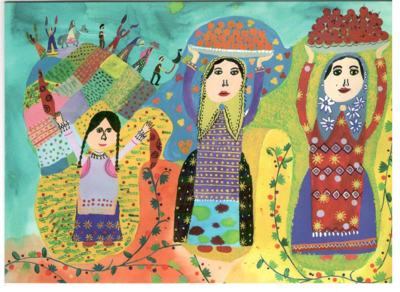 کارت پستال زیبای نوروزی، اثر کودک 11 ساله لارستانی