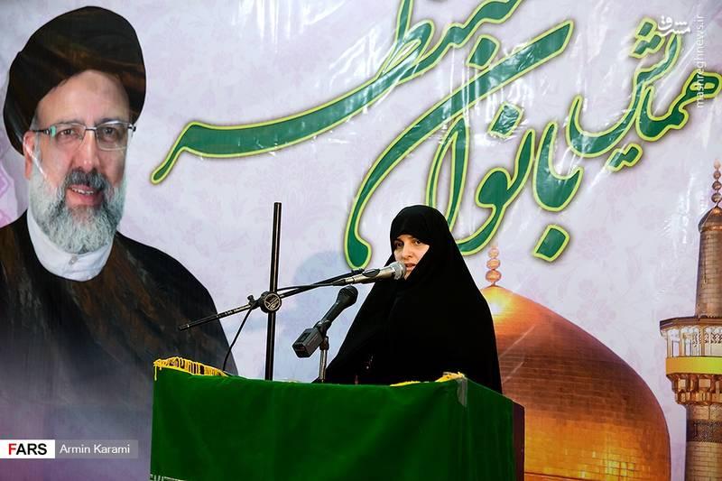 سخنرانی همسر رئیسی در جمع مردم کرج/عکس