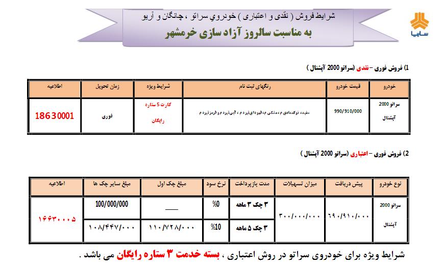 فروش ویژه خودروهای سایپا به مناسبت سالروز آزادسازی خرمشهر (+جزئیات)